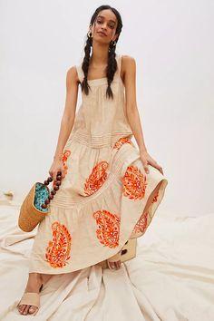 Felicity Embroidered Maxi Dress | Anthropologie Unique Dresses, Fall Dresses, Summer Dresses, Women's Dresses, Long Dresses, Pretty Dresses, Flowy Dress Casual, Casual Dresses, Beige Dresses