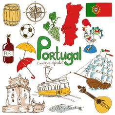 Illustration of Fun colorful sketch collection of Portugal icons, countries alphabet vector art, clipart and stock vectors. Flags Of European Countries, Countries And Flags, Geography For Kids, World Geography, Cultures Du Monde, World Cultures, Portugal Flag, Portugal Travel, Portuguese Lessons