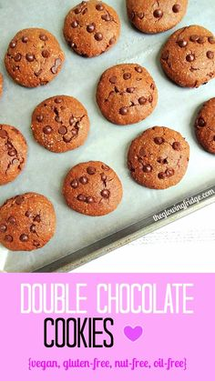 Double Chocolate Cookies - vegan, gluten-free, nut-free, oil-free - Filled with chocolatey goodness and super easy to make!