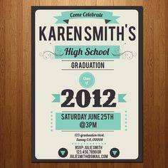 High School or College graduation party invitation by ElleOL on Etsy