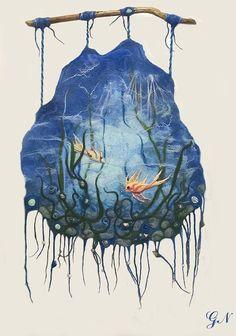 Listo para enviar.  Paneles hechos de pared fieltro lana natural que representa el paisaje submarino, con algas, conchas y peces de colores.