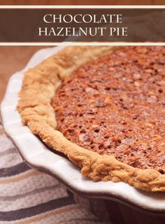 This creative twist on the classic chocolate pecan pie recipe is different, but still delicious! Bake a Chocolate Hazelnut Pie for your holiday dessert!