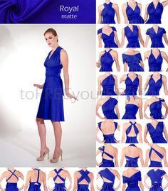 Short infinity dress in ROYAL blue matte, A-LINE Free-Style Dress, short convertible dress, bridesmaid dress, cocktail dress, bridal party