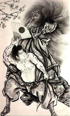 Go Back > Gallery For > Samurai Demon Mask Drawing Japanese Demon Tattoo, Japanese Tattoo Symbols, Japanese Tattoo Designs, Japanese Sleeve Tattoos, Japanese Prints, Japanese Art, Irezumi Tattoos, Geisha Tattoos, Art Tattoos