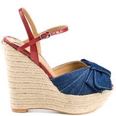 of July Perfect Denim Sandals, Wedge Sandals, Wedge Shoes, Sandal Wedges, Fashion Shoes, Fashion Accessories, Blue Denim, Blue Jeans, 4 Inch Heels