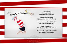 Great invitation. This mama rocked her Dr. Seuss theme...great, great ideas!