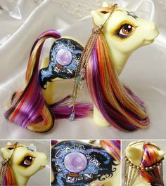 Crystal Clear Hair: Super long saran in black with rainbow stripes, purple, golden yellow and orange Main Symbol: Hand painted mystical crystal ball and. My Little Pony Dolls, Mlp My Little Pony, Pony Style, Clear Hair, Full Body Paint, Devian Art, Little Poney, Doll Repaint, Custom Dolls