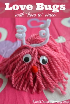 LOVE BUGS tutorial with video. It takes less than 10 minutes to craft this adorable Valentine's Day craft.