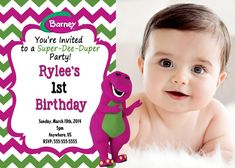 Barney Birthday Party in Purple and Green : Barney For Birthday Party. Barney for birthday party. party for kids Barney Birthday Party, Barney Party, Boy Birthday Parties, Birthday Party Invitations, Birthday Party Decorations, Party Themes, Party Ideas, 2nd Birthday, Birthday Cakes