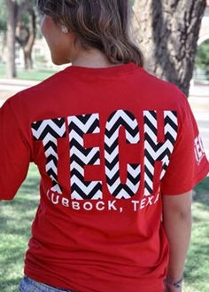 Lubbock, TX TECH Chevron T-shirt (comes in other colors). Red Raider Outfitters.