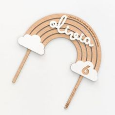 Cake Topper ARCOÍRIS MADERA relieve - Cake topper arcoíris madera relieve