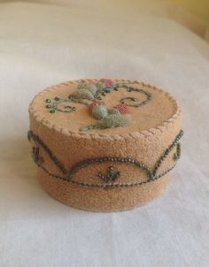 Small box embroidered with reindeer hair and glass beads by Bonnie Bowen