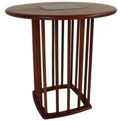"Walnut Side Table, $775 21""t x 21"" diam"