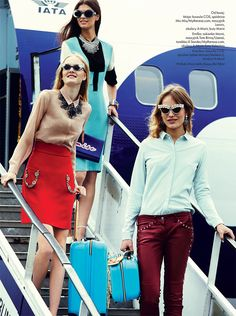 Emilia Nawarecka, Maja Salamon and Karolina Waz Are Jet Setters for Elle Polands November Cover Shoot  #Amorir #sunglasses available now at #SunglassCurator