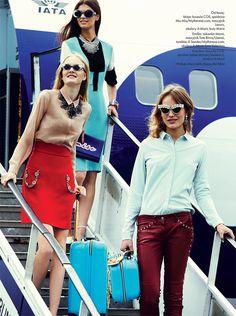 Emilia Nawarecka, Maja Salamon and Karolina Waz Are Jet Setters for Elle Polands November Cover Shoot  #Amorir #sunglasses available now at #SunglassCurator