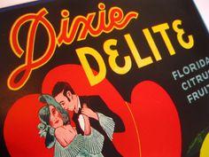 Vintage Florida citrus crate label Dixie Delight by 3floridagirls