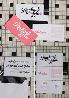black, white and pink wedding stationary by Canvas Stationary Boutique