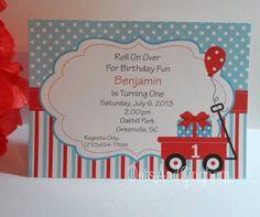 Red Wagon Invitation-Wagon Invitation-Red Wagon Printable-Wagon Birthday Invitation-Stripe Wagon Invitation-Boy Birthday