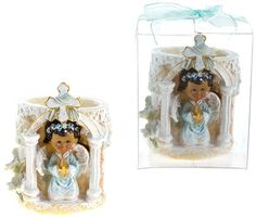 Baby Angel Praying Cup Holder Poly Resin - Blue Case Pack 48