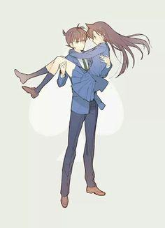 Sweet looking anime couple. Magic Kaito, Detektif Conan, Conan Comics, Ran And Shinichi, Kudo Shinichi, Dc Anime, Manga Anime, Detective Conan Wallpapers, Kaito Kid