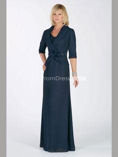 navy V-neck zipper back beaded chiffon Mother of the Bride Dresses - gopromdres.com