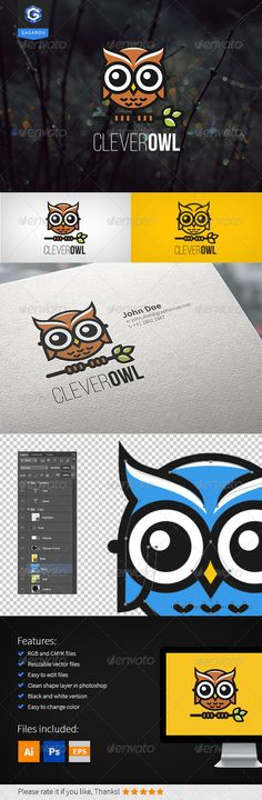 Clever Owl  Logo Design Template Vector #logotype Download it here: http://graphicriver.net/item/clever-owl-logo/8252452?s_rank=401?ref=nexion