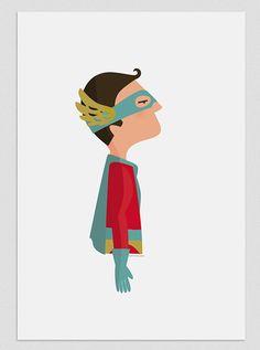 Illustration. SuperHero. Print. Wall art. by Tutticonfetti on Etsy