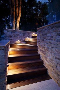 Exterior pathway lighting on wood