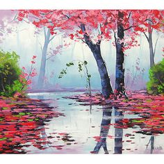 MISTY PINK PAINTING trees river from GerckenGallery on