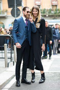 Justin O'Shea and Veronika Heilbrunner at Milan Fashion Week FW2015