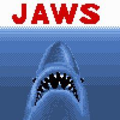pixel art jaws jaws shark ocean scary moive by Sanford12 piq