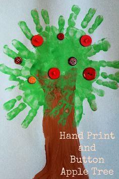 Moments of Mommyhood: Hand Print and Button Apple Tree