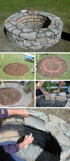 Easy DIY Round Stone Firepit