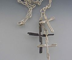 Sterling Multi Cross Necklace with handmade 21 inch by isajul,