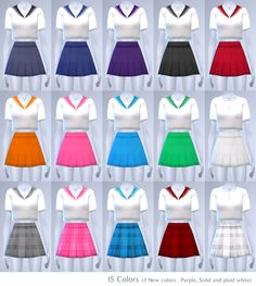 "☾ Sailor uniform set (Edit version) Inspiration ""Teen to elder 15 Colors for tops and bottoms Tops and bottom, mix and match up to you. "" Download [ Dropbox ] Recommended download [ Sailor Moon Collar..."