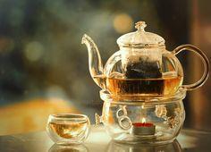 Glass teapot, Glass warmer, Glass cup. #tea