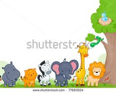 Illustration of Different Jungle Animals for Background