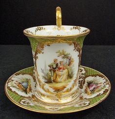Antique Dresden Scenic Chocolate Cup & Saucer