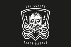 Old School Biker Badges and Elements - Objects - 1