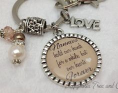 NANNY Keychain, Grandmother, Nana, Mom, Grandma, Granny, Mimi, Personalized Jewelry, Choice of Key Ring, Key Chain, Necklace, Hold our hands