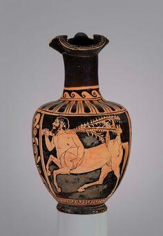 Ceramic red-figure pitcher (trefoil oinochoe). Pilos Head Group. Greek. Late Classical Period, c. 340 B.C. | The Museum of Fine Arts, Boston