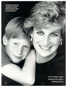 Princesa Diana and Prince Harry of Wales.