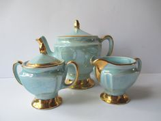 Beautiful Vintage CG Robins Egg Blue Gold Teapot and by jenscloset