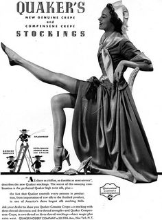 quaker stockings | Quaker Stockings HOSIERY Genuine Crepe 1936 Magazine Ad