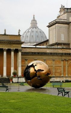 Golden Ball sculpture in courtyard of Vatican Museum, Rome, Italy