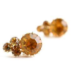 Vintage Amber Rhinestone Clip On Earrings -  Gold Tone Prong Set Screw Back Yellow Glass Costume Jewelry / Round Cut Elegance