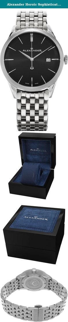 Alexander Heroic Sophisticate Wrist Watch For Men - Black Dial Date Analog Swiss Watch - Stainless Steel Bracelet Watch - Mens Designer Watch A911B-03. Alexander Story: Alexander was the pupil of the storied Greek philosopher Aristotle. He was intelligent, quick to learn and extremely well read. His personality defined charisma, and his obsession with success allowed him to conquer most of the known world at the time. He left a significant legacy beyond his conquests as he founded some...