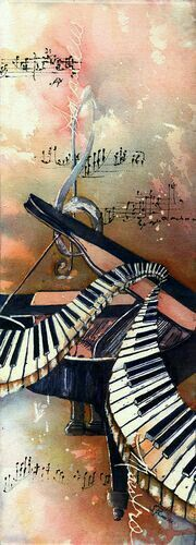 Piano By Ear - Watercolor and black gesso on Arches cold pressed paper. My love of music, Mozart and a piano playing mother inspired this piece and a series of music based paintings. Prints and note cards also available. Das Piano, Piano Art, Piano Music, Sheet Music, Sound Of Music, Music Is Life, My Music, Music Flow, Jazz Music