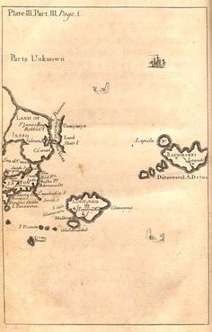 Gulliver's Travels Maps by Herman Moll circa 1726 - Anthrocivitas His Travel, Travel Maps, Jonathan Swift, Gulliver's Travels, Parts Unknown, Chinese Mythology, Location Map, Isle Of Wight, Ancient Rome