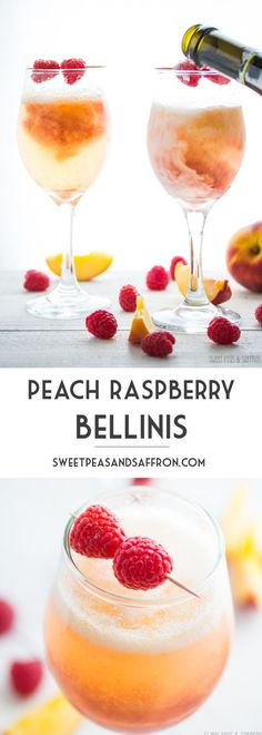 These peach raspberry bellinis made with frozen peaches, a raspberry simple syrup, and bubbly Prosecco are the perfect pretty drink for a summer party. Raspberry Bellini, Peach Bellini Recipe, Raspberry Cocktail, Frozen Peach Bellini, Raspberry Popsicles, Raspberry Cordial, Raspberry Punch, Daiquiri, Recipes